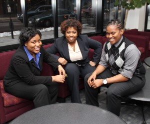Pictured from left: Grace Akinlemibola '15, Kendra L. Lee '15 and Sharon Uti '16