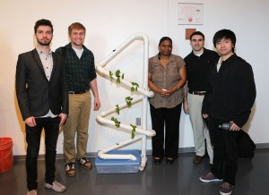 Pictured left to right: Students Gustavo Santi Pereira Neis, Chaz Granholm, Jacky Lundy, Nathan Worthen, Canyuan Tian