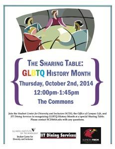 Sharing Table October GLBTQ History Month Flyer