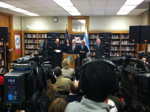 Illinois Tech Provost Alan Cramb discusses the STEM partnership during a news conference at Von Steuben High School.