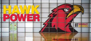 Window art of a giant Scarlet Hawk head in Keating Sports Center's basketball court is only one of many new improvements to the athletics facility.