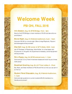 Psi Chi Welcome Week Events Fall 201536