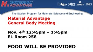 Material Advantage TV screen gen bod meeting flyer