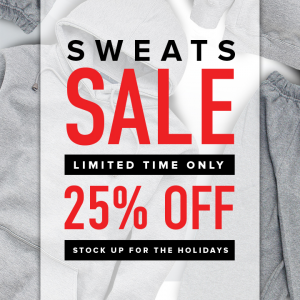 25% off sweats