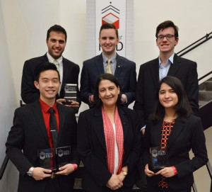 Pictured: 2nd Row (Left to Right) Omar Alhaj Ibrahim, Conner Wiebell, Padriac Chronowski. 1st Row (Left to Right) Wesley Lo, Dean Natacha DePaola, Vasunhara Agrawal.