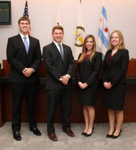 Pictured from left, Lucas Peters '15, Michael Glink '14, Laura Henneman '15 and Valerie Raedy '14