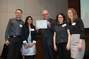 Pictured from left to right:  J. Thomas Gaskin, Anushree Jain, Tom Kuczmarski, Alisa Weinstein, and Maggee Bond. Photo credit: Bonnie Robinson.