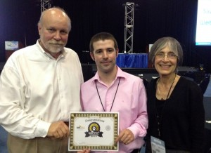 Luis Villaseñor Muñoz (middle) receiving his Audience's Award for Best Application Demonstration. Also pictured (on the left) is Phil Edholm, Chairman of the WebRTC Conference East and President and Principal of PKE Consulting, (far right) Carol Davids, Industry Professor of Information Technology and Management and Director of the Real-Time Communications Lab