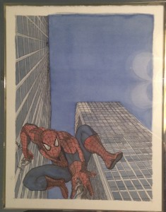 "An orginal watercolor painting titled: ""Spiderman Visits Mies van der Rohe's Commonwealth Plaza"""