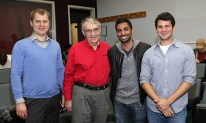 [Left to right] Dawid Broda, manager of the Cyber Forensics and Security Laboratory and graduate student in the Master of Information Technology and Management program; Bill Lidinsky, director of the Computer Security and Forensics Laboratory, graduate adviser, and Industry Professor of Information Technology and Management; Terence Fernandes; and Ben Khodja.